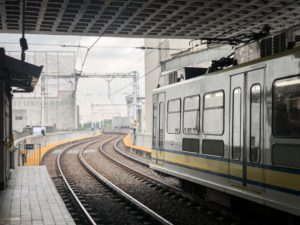 An LRT coach leaving the station