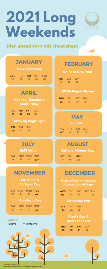 infographic 2021 long weekends in the Philippines